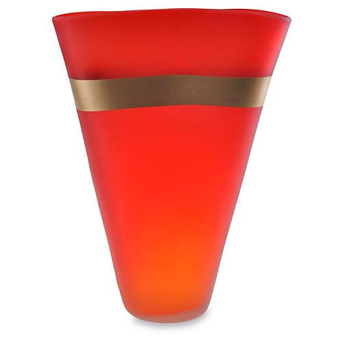 """15"""" Gold-Banded Art Glass Vase, Red"""