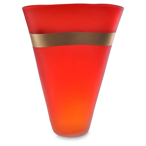 "15"" Gold-Banded Art Glass Vase, Red"