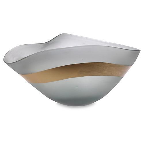 "13"" Gold-Banded Art-Glass Bowl, Gray"