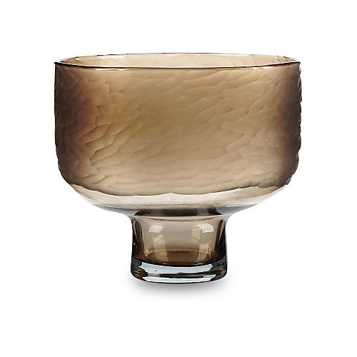 "12"" Glass Bowl, Brown"