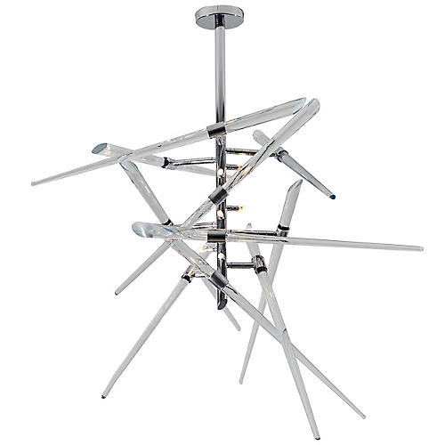 Axion Chandelier, Clear/Chrome