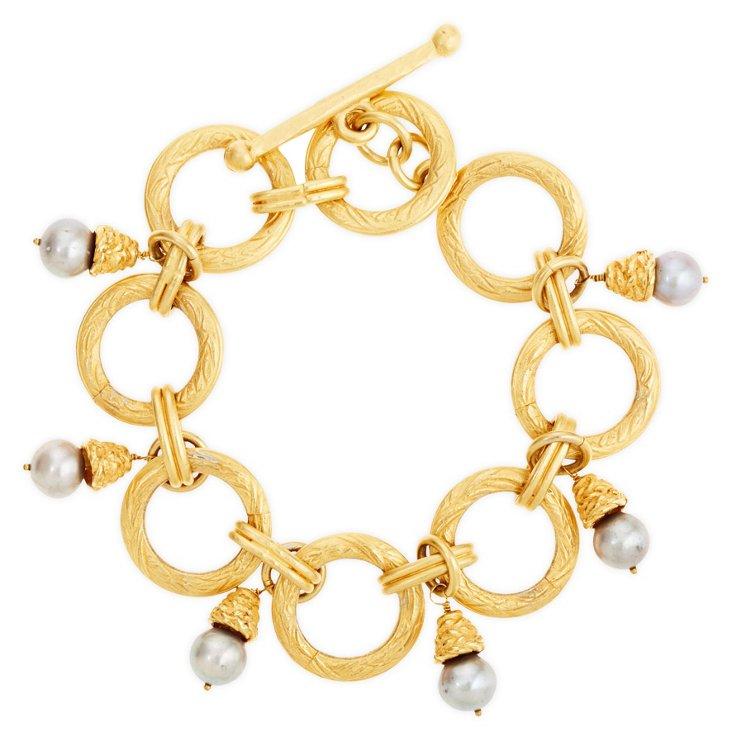 Gold & Pearl Filigree Circle Bracelet