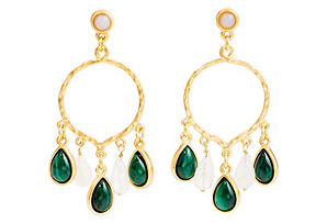 Teardrop Earrings, Malachite/Moonstone