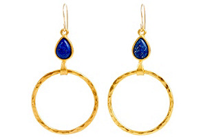 Lapis Teardrop Hoop Earrings