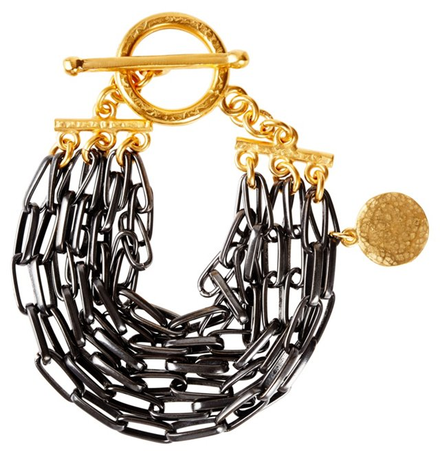 Multilink Bracelet w/ Single Gold Disc