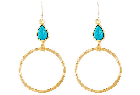 Turquoise Teardrop on Hoop Earrings