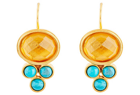 Citrine & Turquoise Earrings