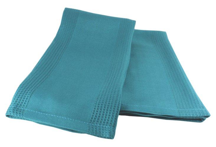 S/4 Bamboo Dish Towels, Ocean