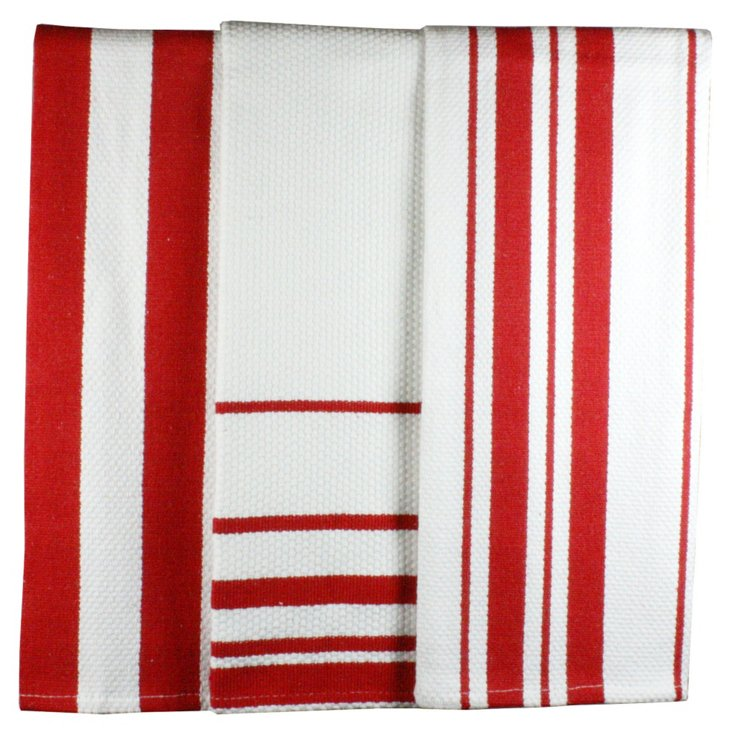 S/2 Stripe Dish Towels, Punch