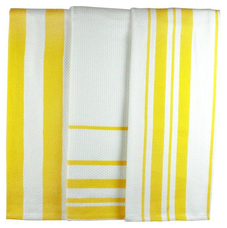S/2 Stripe Dish Towels, Lemon