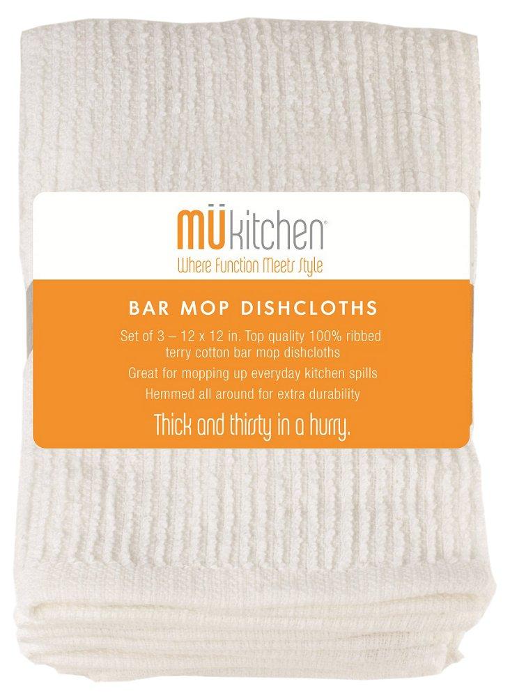 S/12 Bar Mops Cloths, White