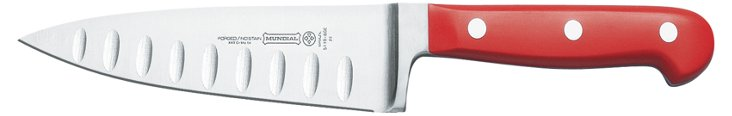 """6"""" Chef's Knife w/ Hollow Edge, Red"""