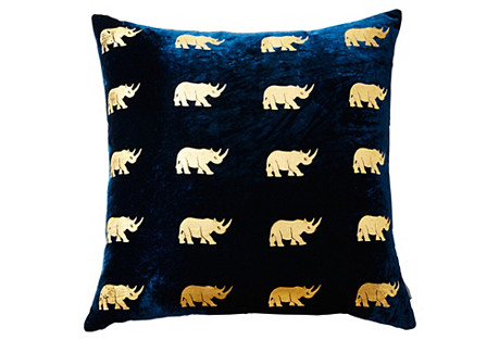 Arusha 22x22 Silk Velvet Pillow, Blue