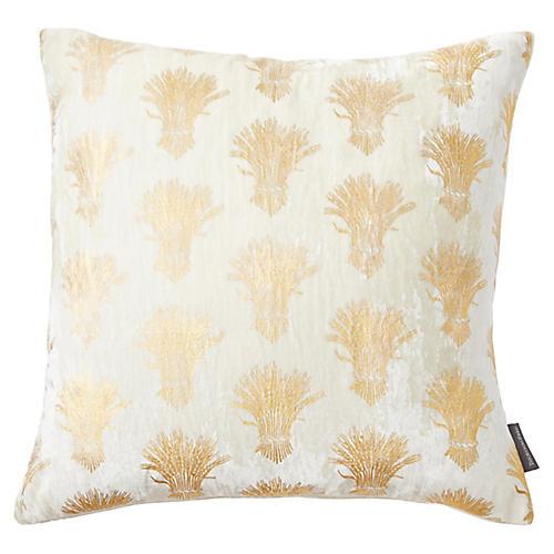 Weald 20x20 Silk Velvet Pillow, Ivory