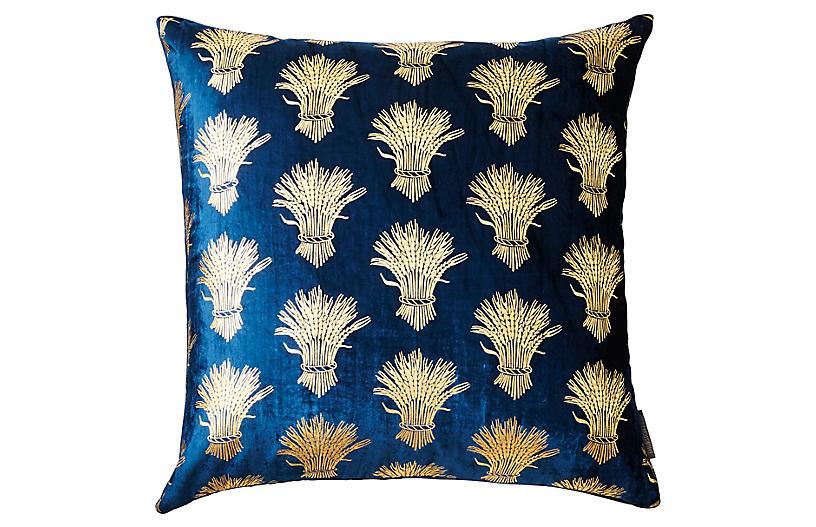 Weald 20x20 Silk Velvet Pillow, Blue