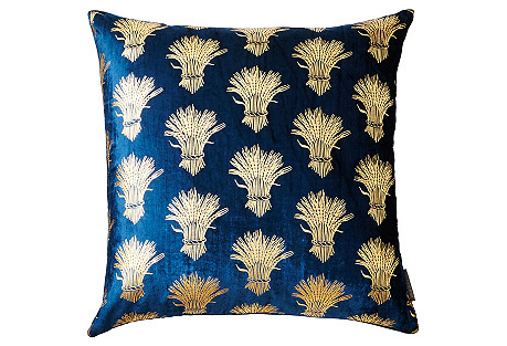 Weald 20x20 Silk Velvet Pillow, Blue