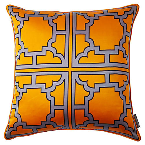 Manette 20x20 Silk Pillow, Orange