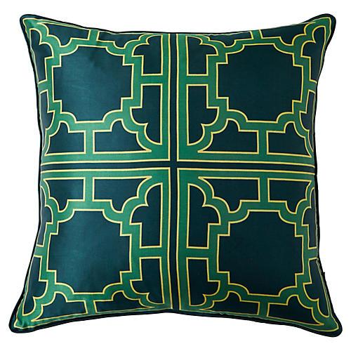 Manette 20x20 Silk Pillow, Green