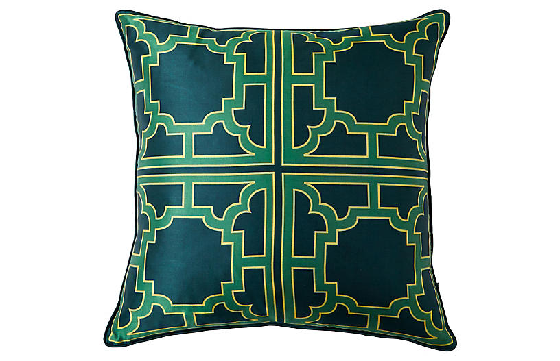 Manette 20x20 Silk Pillow, Green
