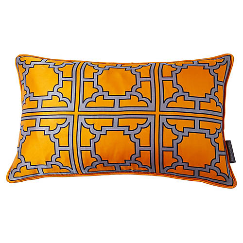 Manette 12x20 Silk Pillow, Orange