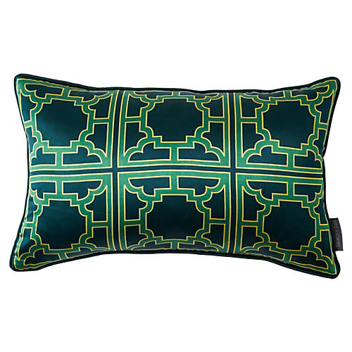 Manette 12x20 Silk Pillow, Green