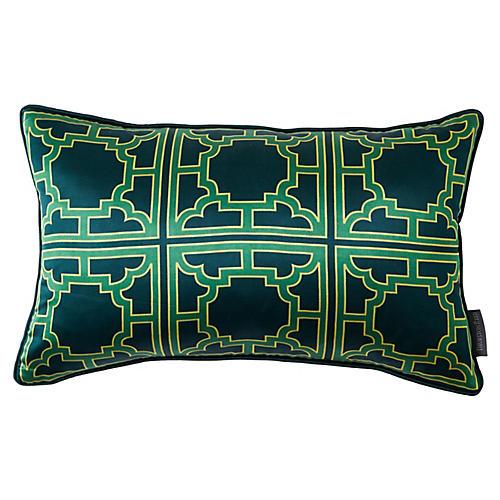 Manette 12x20 Silk Pillow, Green