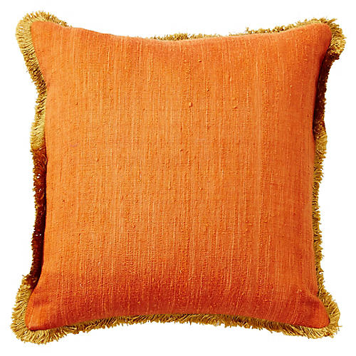 Romilly 16x16 Silk Pillow, Orange