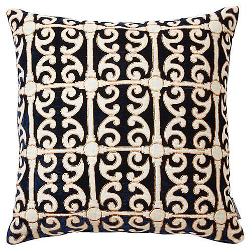 Petworth 20x20 Silk Velvet Pillow, Blue