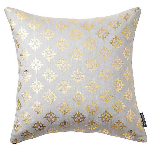 Valbonne 18x18 Silk Pillow, Ivory