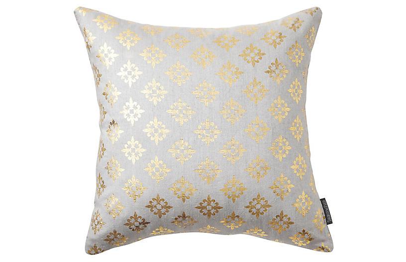 Valbonne 18x18 Silk Pillow, Pewter