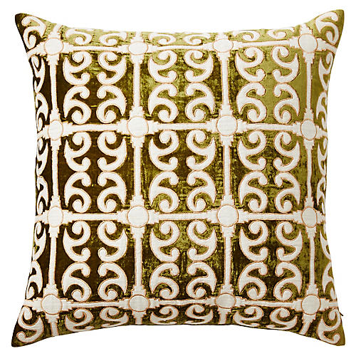Petworth 20x20 Silk Velvet Pillow, Green