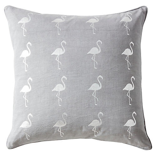 Andalucia 22x22 Linen Pillow, Gray
