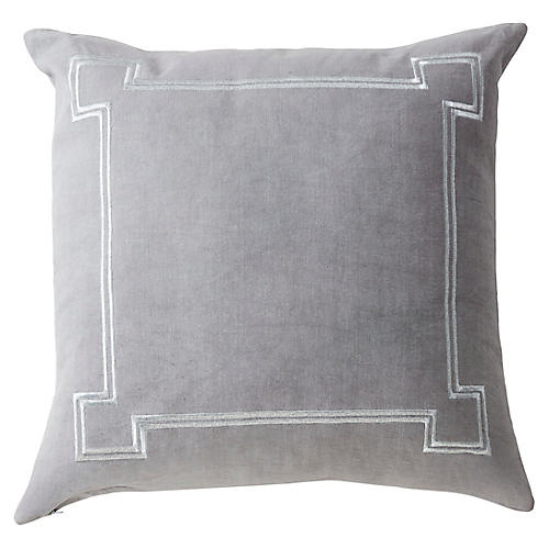 Aria 22x22 Linen Pillow, Gray