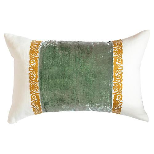 Francesca 14x22 Lumbar Pillow, Seafoam Linen