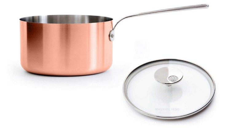 "Copper Saucepan w/ Glass Lid, 7.1"""