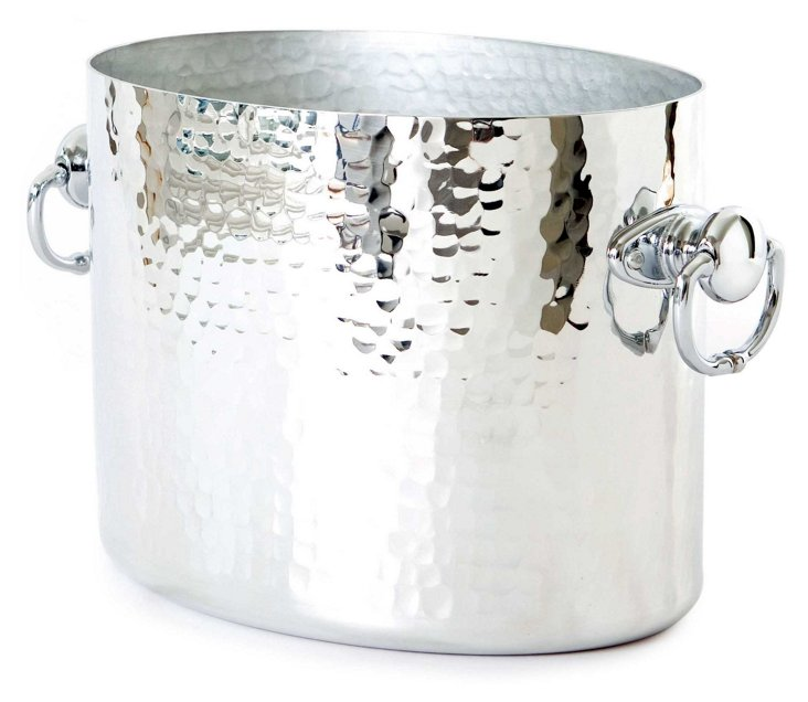 Hammered Champagne Oval Bucket, Silver