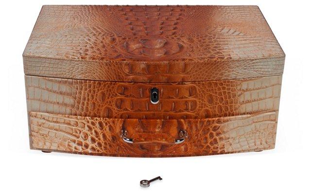 Faux-Crocodile Leather Jewel Box