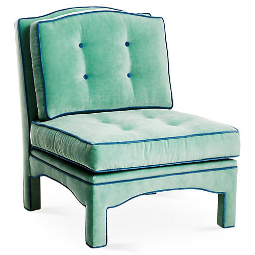 Julien Tufted Slipper Chair, Pistachio Velvet