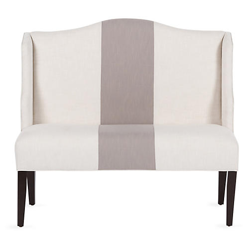 Chelsea Camelback Banquette, Ivory/Greige Crypton