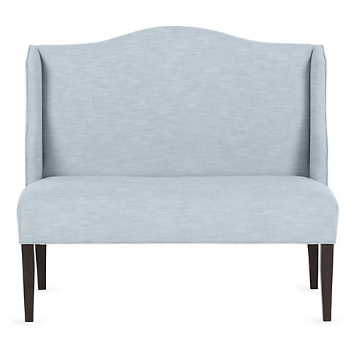 Chelsea Camelback Banquette, Powder Blue Crypton