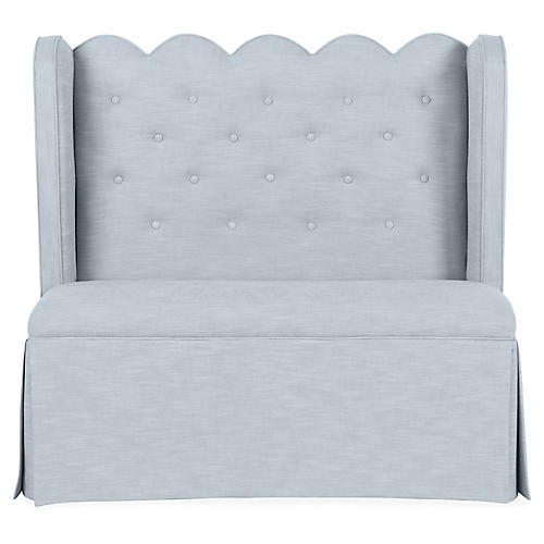 Regina Scallop Banquette, Powder Blue Crypton