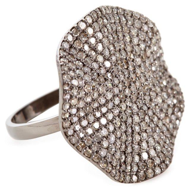 Sterling Silver Diamond Petale Ring