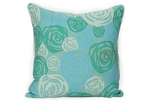 Punchy Roses Throw Pillow, Blue