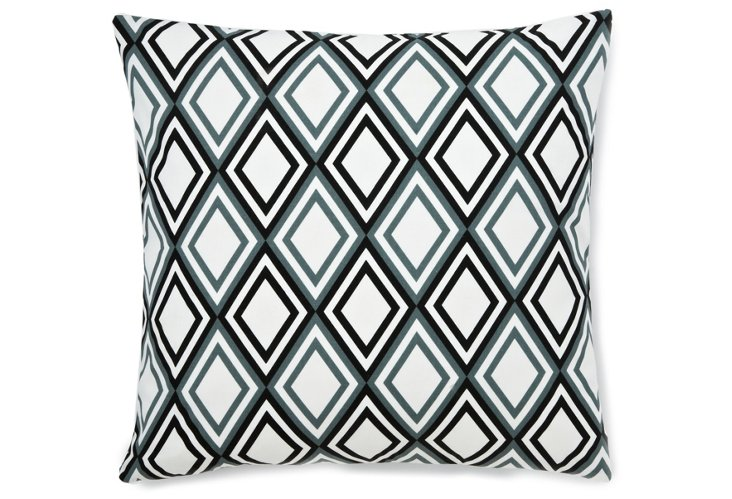 Diamond 22x22 Cotton Pillow, Blue