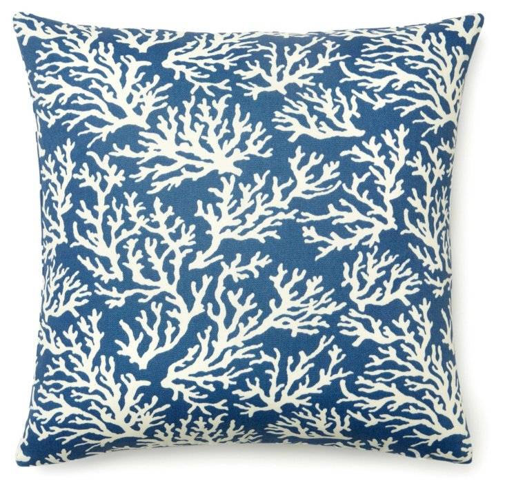 Coral 20x20 Outdoor Pillow, Blue