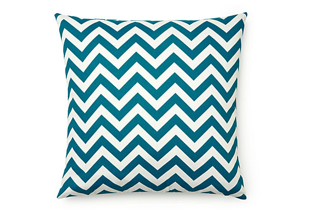 Zigzag 20x20 Outdoor Pillow, Blue