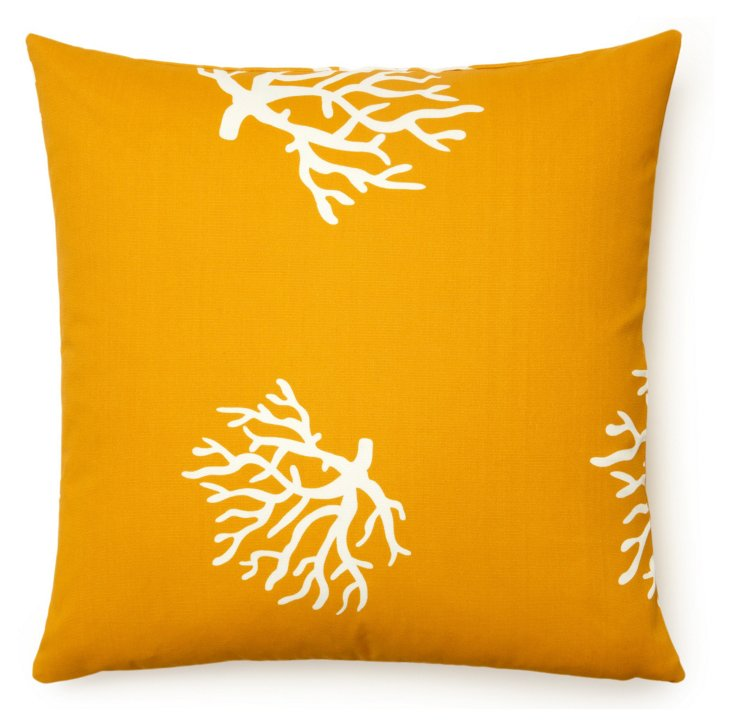 Coral 20x20 Outdoor Pillow, Yellow