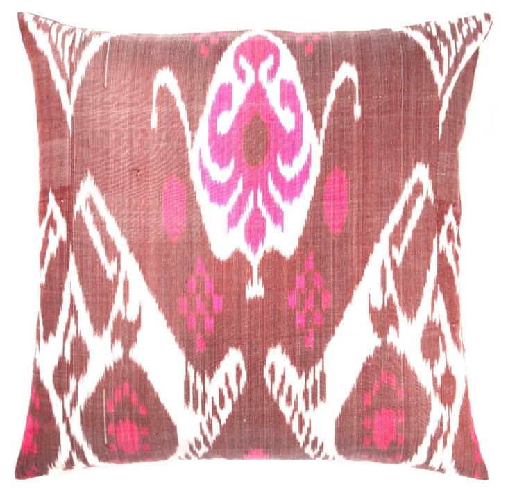 Ikat 20x20 Silk Pillow, Berry