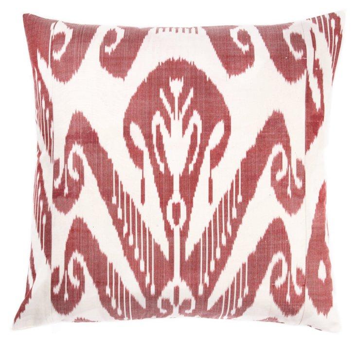 Ikat 20x20 Silk Pillow, Berry