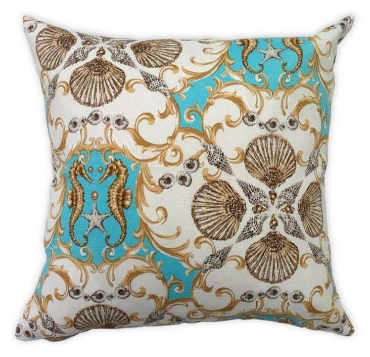 Seahorse 20x20 Outdoor Pillow, Aqua